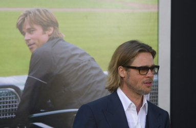"""Brad Pitt arrives at the premiere of """"Moneyball"""" in Oakland, California"""