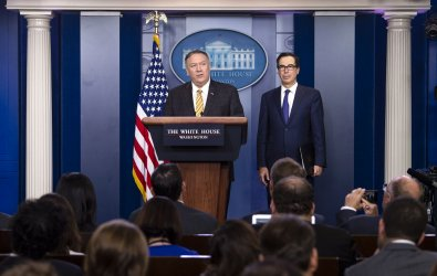 Secretary Pompeo and Mnuchin speak at the White House
