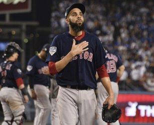 Red Sox pitcher Price relieved during the ninth inning in Game 3 of the World Series