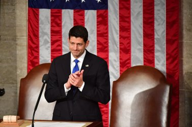 Speaker Paul Ryan before President Trump's address to a Joint Session of Congress at the U.S. Capitol Building