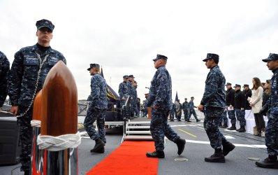 USS Cowpens and USS Antietam exchange of Command ceremony in Yokosuka