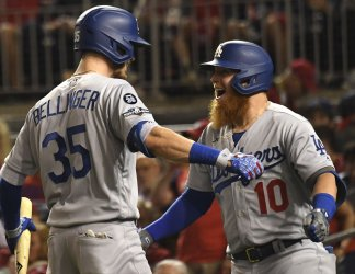 Dodgers Turner hits solo home run during National League Division Game Three Dodgers at Nationals in Washington