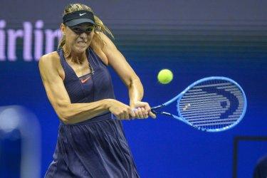 Maria Sharapova hits a backhand at the US Open