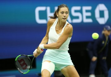 Mariam Bolkvadze returns the serve at the US Open