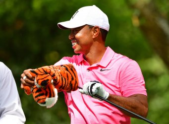 Tiger Woods during a practice round for the Masters