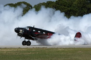 World War II era Twin Beech 18 performs at the Tico Warbird Air  Show.