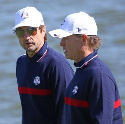 Luke Wilson and Greg Kinnear play celebrity tournament at the Ryder Cup 2018
