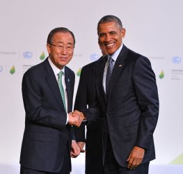 Obama and Ban Ki-moon Arrive at Opening of UN Climate Summit Near Paris