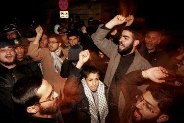 Islamist Basij militia demonstrates to support Gaza in Tehran