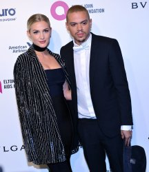 Evan Ross and Ashlee Simpson attend the Elton John Aids Foundation Oscar viewing party