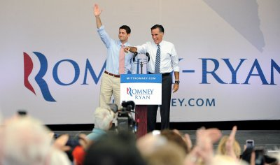 Mitt Romney and Paul Ryan address supporters at a campaign event in Henderson, Nevada