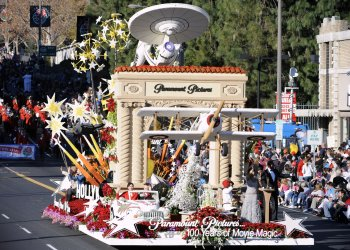"""Paramount Pictures...100 Years of Movie Magic"" float is seen in the 123rd Tournament of Roses Parade in Pasadena, California"