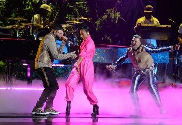 Farruko, Alicia Keys and Pedro Capo perform at Latin Grammy Awards in Las Vegas