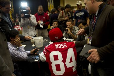 Members of the San Francisco 49ers speak to the press in New Orleans