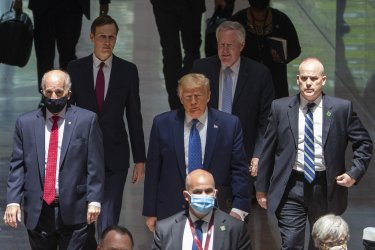 President Trump speaks after meeting with Republican Senators in Washington, DC