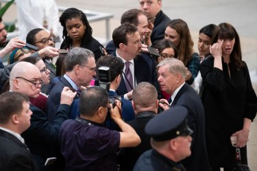 U.S. Sen. Lindsey Graham speaks to reporters on Impeachment