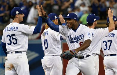 Dodgers Puig celebrates win over the Cubs in game of the NLCS