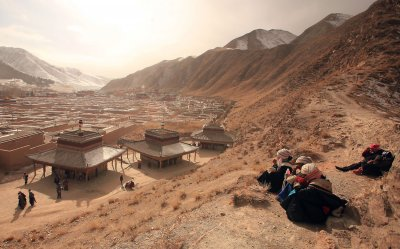 Tibetans visit the Labrang Monastery in a Tibetan area of China, Xiahe