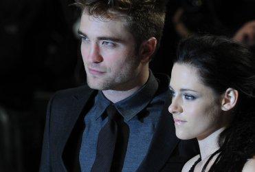 "Robert Pattinson and Kristen Stewart attend the premiere of ""The Twilight Saga: Breaking Dawn: Part One"" in London"