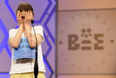 Lena Greenberg competes in the Finals of the Scripps National Spelling Bee