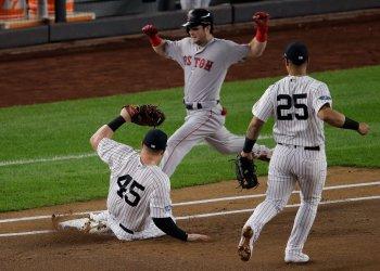 Boston Red Sox Andrew Benintendi out at AL Division Series Game 4