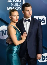 Colin Jost and Scarlett Johansson attend the 26th annual SAG Awards in Los Angeles