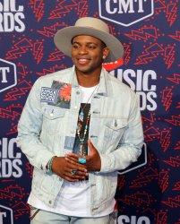 Jimmie Allen arrives for the 2019 CMT Music Awards in Nashville