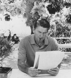 Ronald Reagan Contemplates Nomination Acceptance Speech