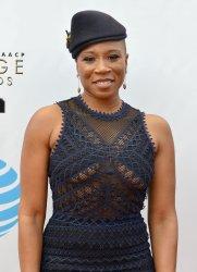 Aisha Hinds attends the 48th NAACP Image Awards in Pasadena, California