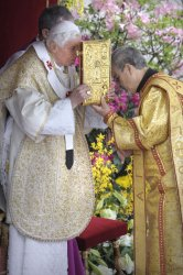 Pope Benedict XVI celebrates Easter Mass in St. Peter's Square at the Vatican
