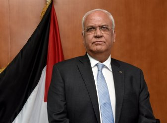 Dr. Saeb Erekat Works In The PLO Headquarters, West Bank