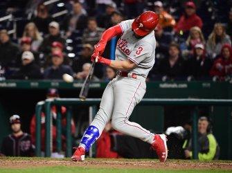 Philadelphia Phillies' Bryce Harper hits a home run