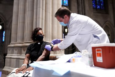 Religious Leaders are Vaccinated at the National Cathedral in Washington, DC