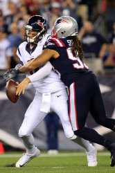 Texans Osweiler sacked by Patriots Sheard