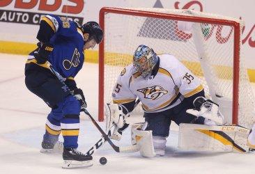 Nashville Predators goaltender Pekka Rinne makes save
