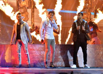 Sebastian Yatra, Luis Fonsi and Nicky Jam perform at the Billboard Latin Music Awards in Las Vegas