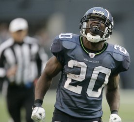 Seattle Seahawks running back Justin Forsett shows his frustration.