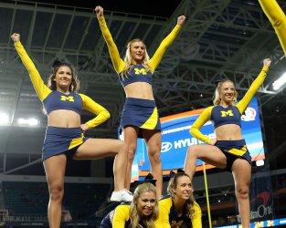 Michigan Wolverines cheerleaders in the Orange Bowl