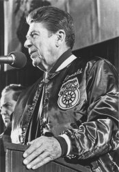 Ronald Reagan Addresses Rally at Flint Southwestern High School