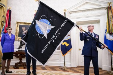 President Trump Unveils the Space Force Flag at the White House