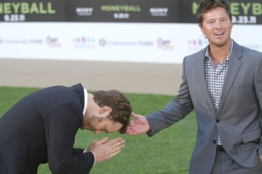 """Chris Pratt and arrive at the premiere of """"Moneyball"""" in Oakland, California"""