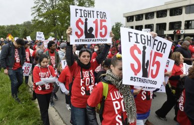 Protesters Demand Higher Wagers at McDonald's Corporate Headquarters in Oakbrook, Illinois.