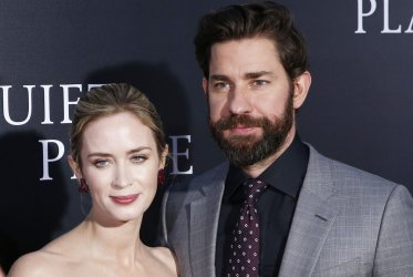 Emily Blunt and John Krasinski at premiere for 'A Quiet Place'