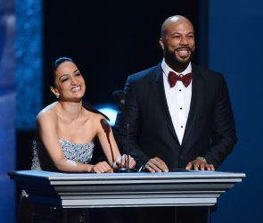 Archie Panjabi and Common present an award at the 44th NAACP Image Awards in Los Angeles