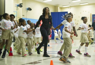 First Lady Michelle Obama vists Orr Elementary in Washington, DC