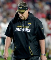 Jaguars' Marrone leaves the field after loss