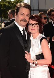 Megan Mullally and Nick Offerman attend the 2012 Creative Arts Emmy Awards in Los Angeles