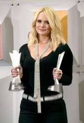 Miranda Lambert wins an award backstage at the 51st  annual Academy of Country Music Awards in Las Vegas