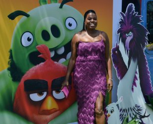 """Leslie Jones attends """"The Angry Birds Movie 2"""" premiere in Los Angeles."""