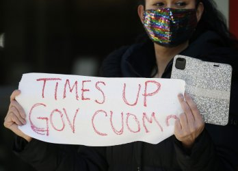 New York Gov. Andrew Cuomo Sexual Harassment Protest in New York